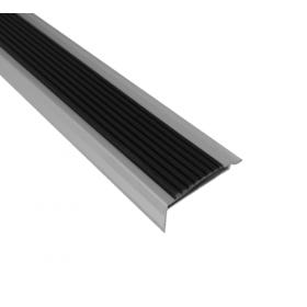 Alu-Treppenkantenprofil mit Antirutschbelag - Silber - Antirutsch-Streifen - 42x22x2700mm - 5 Stück