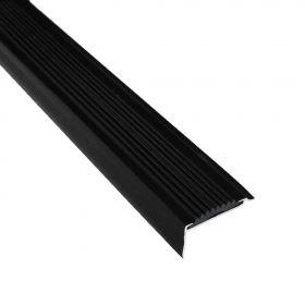 Treppenkantenprofil - Schwarz - Alu mit Gummi-Einlage - 42 x 22 x 2700 mm - 5 Stück