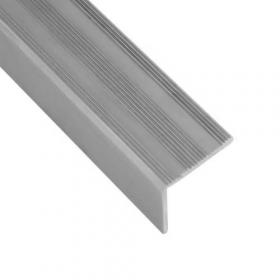 Alu-Treppenkantenprofil - Silber - Rutschhemmendes Rillenmotiv - 25x25x1350mm - 1 Stück