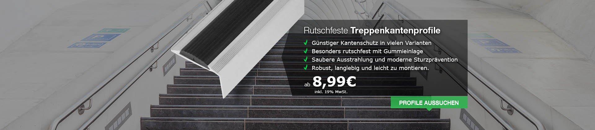 Rutschfeste Treppenkantenprofile aus Alu - Professioneller Knatenschutz für Ihre Treppe in verschiedenen Varianten